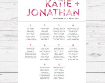 Wedding table plans - Crystal design, personalised with your details and your guest names