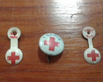 Vintage Red Cross Pinback Button and Collar Pips
