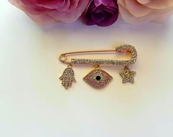Pink eye evil eye Stroller pin with Hamsa hand and crown charm Crib Pin Stroller Pin Bassinet Pin Good luck pin Baby Pin