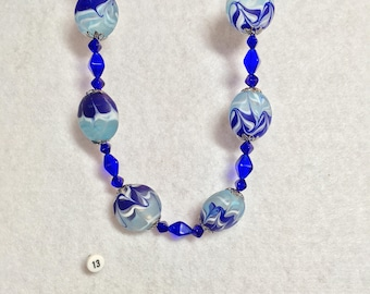 Antique Silver and Blue Swirled Necklace
