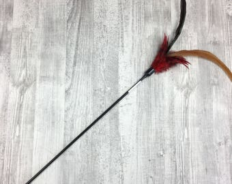 Cat toy | Rooster duster cat wand teaser toy | Interactive Cat Toy | Feather cat teaser | Red cat toy | Best cat toy for indoor cats