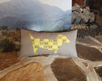 Daschund Dog Throw Pillow, Puppy Pillow, Handstitched Dachshund Design in Soft Gray and Yellow Butterfly Fabric, Great Dog Lover Gift!