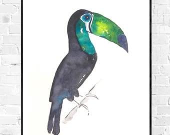 original toucan Toucan bird painting-watercolor-painting-tropical art-colorful art-zen watercolor-original watercolor-animal painting-bird art