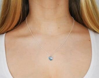 Blue Swarovski Crystal Heart Charm Silver Plated Chain Necklace.  Beautiful Swarovski  Crystal Heart. Delicate Light Blue Heart Charm.