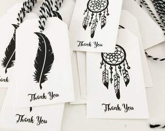 Monochrome Boho Party Favor Tags, Thank You Tags, Boho Birthday, Wild One Birthday Party, Tribal Party, Boho Baby Shower, Boho Bridal Shower