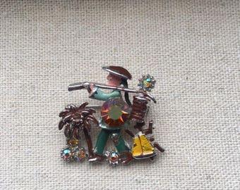 Vintage Oriental Man Brooch