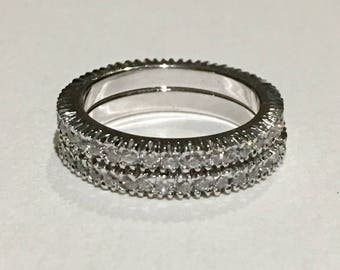 Sterling silver 925 set of two eternity bands