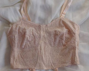 Vintage 1940's Cotton & Lace Brassiere by Beauty Brassiere