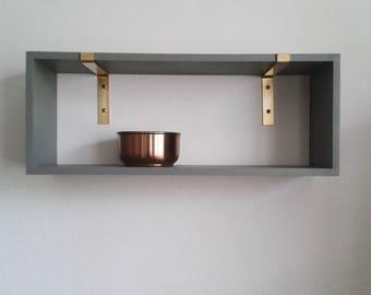brass angle mdf grey shelving wall shelf bracket