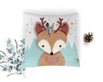 Christmas gift, Christmas Pillow, Woodland nursery pillow, Reindeer pillow, Throw pillow, Cushion cover, Christmas, Deer pillow, Cover