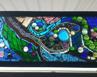 Stained glass mosaic with antique window panel, Galaxy , Milkyway mosaic window,