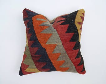 "Turkish Kilim Rug 16"" Pillow in Tribal Pattern"