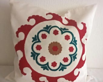 Red and Green embroidered pillow cover Hand embroidered pillow Decorative pillow Accent pillow case Red embroidery Central Asian Tajik