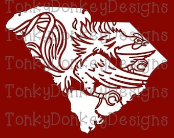 South Carolina Gamecocks Digital Cut File (svg, dxf, eps, studio3, jpeg) for cutting machines (Silhouette, Brother, Cricut, etc.)