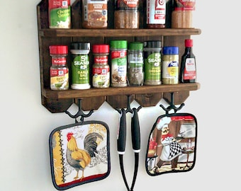 Rustic Spice Rack|Spice Rack with Utensil Hooks|Wall Spice Rack|Wood Spice Rack|Rustic Kitchen Decor|Country Kitchen Spice Rack|Spice Shelf