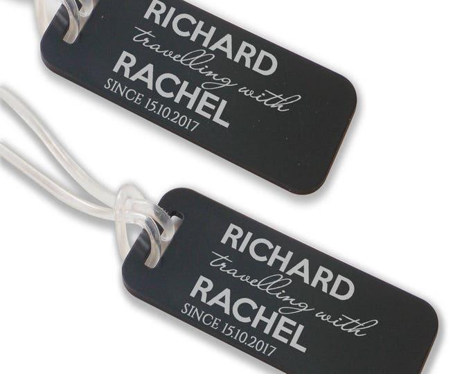 Personalised engraved luggage TAG, coloured aluminium custom honeymoon luggage tag suitcase bag tag - ANB12