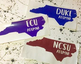 NC Alumni Decal: duke, nc state, & ecu