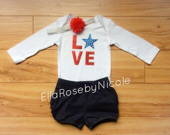 Onesie, Bodysuit, 4th of July Baby Outfit, 4th of July Baby Onesie, Patriotic Onesie, Baby Girl 4th of July