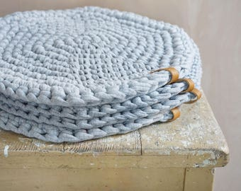 Seat cushion seat grey crochet