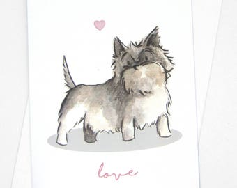 Cairn Terrier Love Card / Cairn Terrier Birthday Card / Funny dog card / Terrier birthday wishes / Love gift / Dog gift / Dog accessory