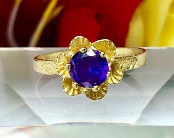 14K Gold Baby Flower Ring - Gold Rings For Newborn - 14k Gold Sapphire Ring - Gold Birthstone Ring - Children Cute Vintage Gold Rin