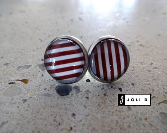 Striped earrings red stainless steel - Stainless Steel - Studs - glass Cabochon Earrings
