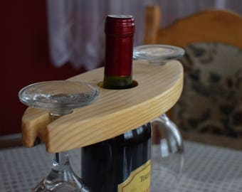 Wine Glass Holder Which Can Contain Two Glasses, Wine Rack, Wine, Wine Lover, Wine Bottle Holder, WInne Bottle, Glass,  Handmade, Scroll Saw