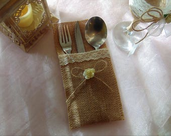 Burlap Silverware Holder with lace, bow and rose, Burlap Wedding,Table Setting Decor,Flatware Holder,Burlap Cutlery Holder,silverware pocket