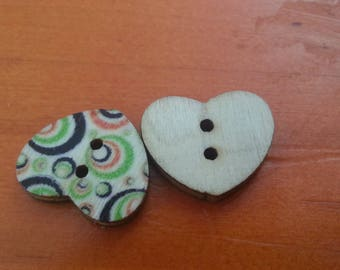 Buttons shaped multicolored hearts
