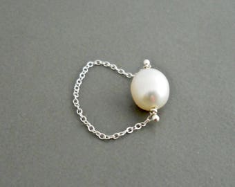 Pearl Chain Ring, Simple Pearl Ring, Bridal Pearl, Single Pearl Ring, Dainty Ring, Petite Ring, Simple Ring, Thin Chain Ring, Gift for Her