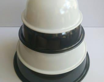Pyrex Black White Nesting Mixing Bowl 322 323 324 325 Glass Lip Clear Bottom