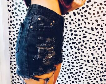 Custom // Denim Shorts - Studded, Bleached, Distressed, Shredded, Shorts, Cut Off Shorts