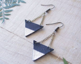 Small Geometric Leather Earrings / Triangles / Black & Silver