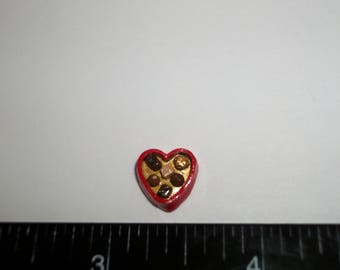 11mm ~ Dollhouse Miniature Handcrafted Valentines Day Heart Chocolate Candy Sweet Dessert Doll Food 910