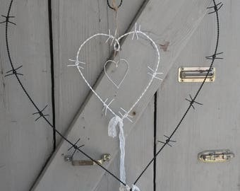 Mobile - black - white barbed wire heart