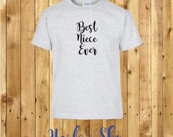100% Cotton Kids T-shirt With 'Best Niece Ever' Slogan Print Present Gift Birthday Childrens