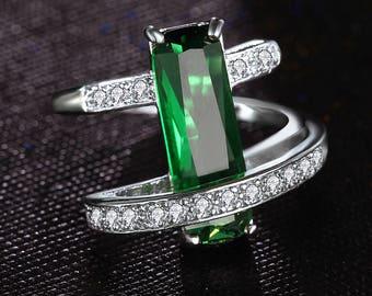 Fashion Green Crystal Hollow