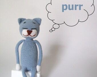 Sleepy cat plush toy for baby gift, crochet teething blue cat lover gift, darling cat crochet animals