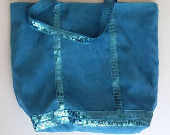 Tote bag blue with glitter in the Vanessa boy style