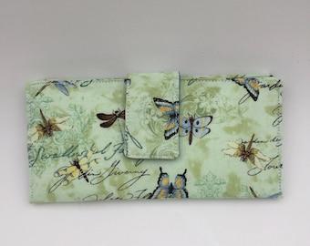 women's wallet,dragonfly wallet,green wallet, women's slim fabric bifold wallet, gift for her,butterfly wallet