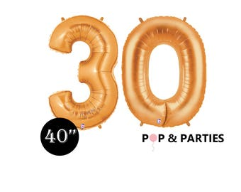 """SHIPS FAST - Giant Gold Number 30 Balloons, 40"""" Gold Balloons, 30th Birthday Balloons, Giant Number Balloons, Gold Party Decorations"""