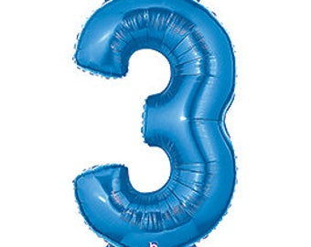 SHIPS FAST - Blue Megaloon Number Balloons, Blue Number 3 Balloon, Giant Number Balloon, Big Number Balloons, Blue Balloon - Any Number