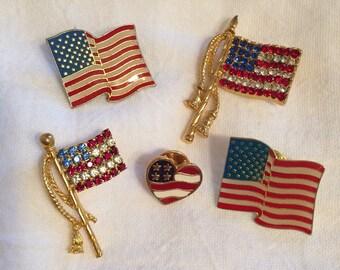 Set of Five Flag Pins