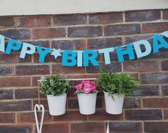 Happy Birthday Son Boy Garland Banner Party Bunting Decoration Blue.