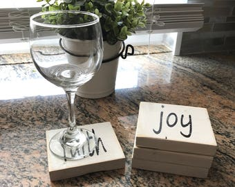 Set of 4 handmade farmhouse rustic coasters