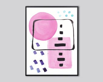 Abstract wall art print, abstract art, Pink, art prints abstract, pink abstract wall decor, abstract painting, abstract artwork, 19
