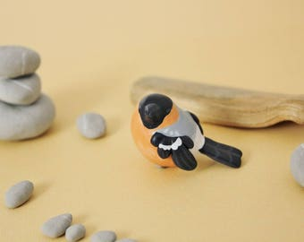 Eurasian Bullfinch Figurine - Handmade Polymer Clay Cute Bird
