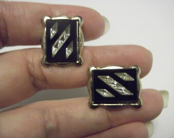 Dress Cuff Links / 50s Onyx Gold P Cuff links Tie Clip Set / Mens Vintage Cuff link Set / Mid Century Modern / Rockabilly / Christmas Gift