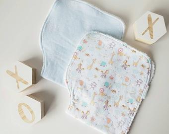 Blue and White Dandelion Print Flannelette Baby Burp Cloth