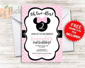 Pink Minnie Mouse 2nd Birthday Invitation 5x7 Digital Personalized File Minnie Mouse Party Invite
